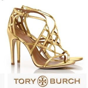 TORY BURCH Amalie gold strappy caged heels